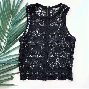 CHARLOTTE RUSSE BLACK EMBROIDERED TANK TOP